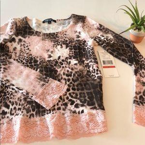 KAREN KANE PETITES Leopard Print Pink Lace Sweater